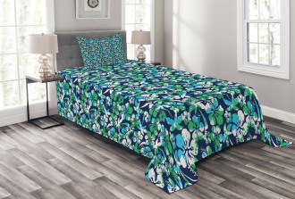 Flowers Palm Summer Tree Bedspread Set