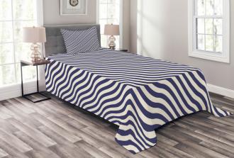 Wavy Stripes Dark Blue Bedspread Set