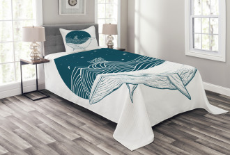 Whale and Stars Old Ship Bedspread Set