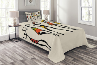 African Clan Dancer Ethnic Bedspread Set