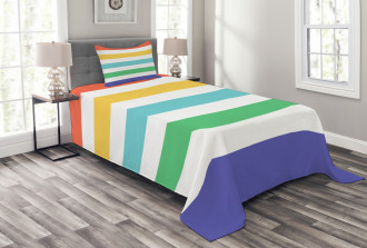 Rainbow Kids Pattern Bedspread Set