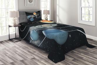 Solar System Sun Planets Bedspread Set