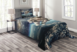 Astronaut Floats Outer Space Bedspread Set