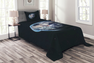 Planet Outer Space Scene Bedspread Set