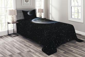 Moon Planet Earth Cosmos Bedspread Set