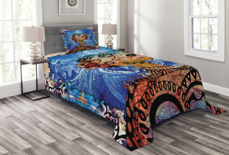 Indie Sketch Retro Style Bedspread Set