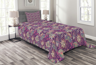 Flowers and Asian Mehndi Bedspread Set
