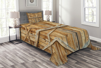 Wooden Timber Door Plank Bedspread Set