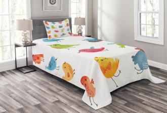 Colorful Cute Humor Bird Bedspread Set