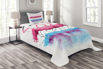 Lovely Flamingo and Bird Bedspread Set