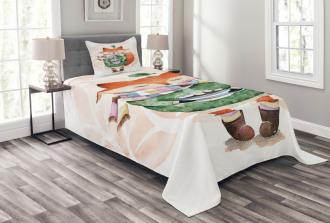 Cute Lİttle Fox and Bird Bedspread Set