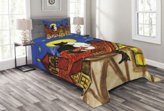 Two Lover Cats with Sky Bedspread Set