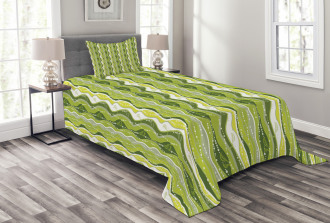 Digital Leaf Floral Lines Bedspread Set