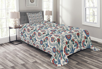 Old Floral Leaf Ornament Bedspread Set