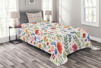 Soft Colored Floret Bedspread Set