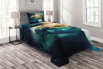 Spiral Galaxy and Planets Bedspread Set