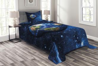 Planet Earth Solar System Bedspread Set