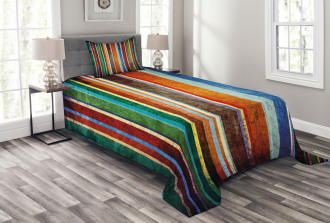 Retro Colorful Bands Bedspread Set