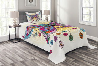 Spring Flowers Butterfly Bedspread Set