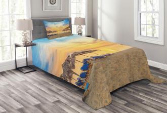 Sandy Beach with Sunrise Bedspread Set