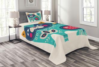 Paisley Style Cat Kitten Bedspread Set