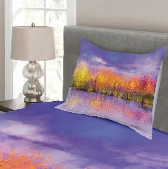 Fall Season Trees River Bedspread Set