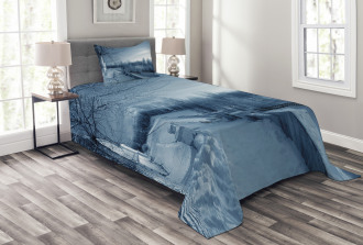 Ice Cold Snowy Scenery Bedspread Set