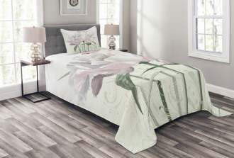 Pink Rose Tulip Abstract Bedspread Set