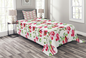 Shabby Chic Roses Tulips Bedspread Set