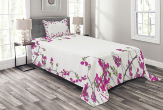 Leaves Buds and Branches Bedspread Set