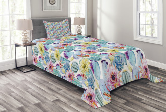 Desert Sand Wild Flowers Bedspread Set