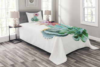 Cactus Flower and Spike Bedspread Set
