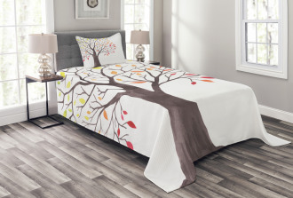Forest Trees with Leaves Bedspread Set