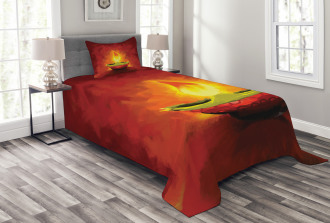 Oil Painting Candle Bedspread Set