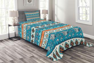 Floral Aztec Art Pattern Bedspread Set
