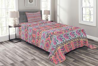 Retro Spring Aztec Art Bedspread Set