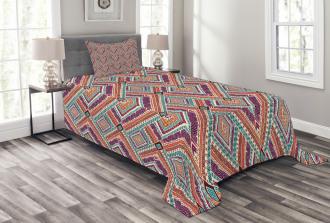 Diagonal Ethno Pattern Bedspread Set