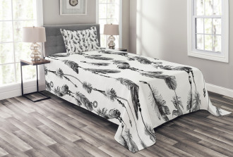 Black White Boho Feather Bedspread Set