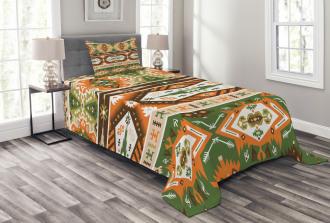 Aztec Mayan Style Stripe Bedspread Set