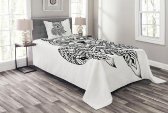 Native America Wolf Head Bedspread Set