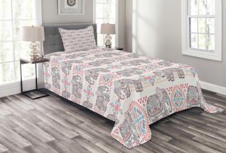 Ethnic Elephant Bedspread Set