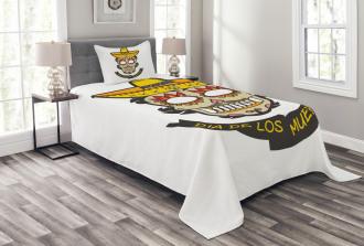 Skull with Sombrero Bedspread Set