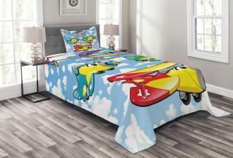 Kids Cute Airplanes Sky Bedspread Set