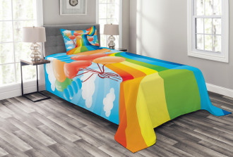 Rainbow Romantic Hearts Bedspread Set