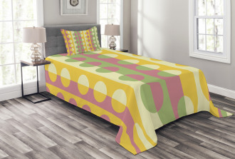 Retro Geometric Stripe Bedspread Set