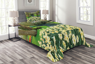 Flower Garden Grass Park Bedspread Set