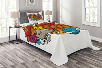 Cartoon Cat Bird Skull Bedspread Set