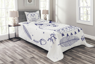 Fox with Hearts and Beam Bedspread Set