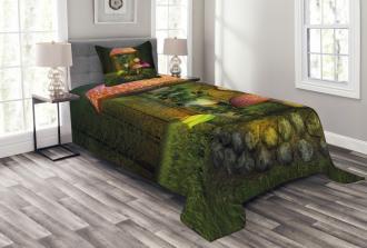 Giant Mushroom and Elve Bedspread Set