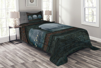Medieval Castle at Night Bedspread Set